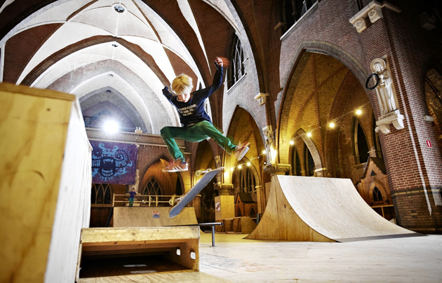 A Skating Park in the former Roman Catholic Church of St. Joseph in Arnhem, Netherlands. / WSJ,pub, church, europe