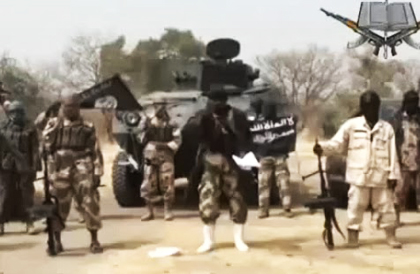 Boko Haram armed men in a propaganda video image.