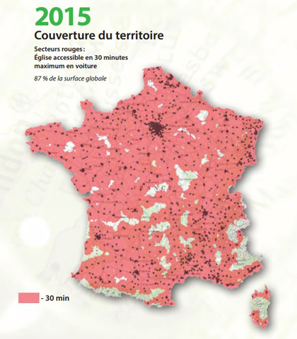 An Evangelical Church is accessible by car in less than 30 minutes in 87% of French territory. / CNEF