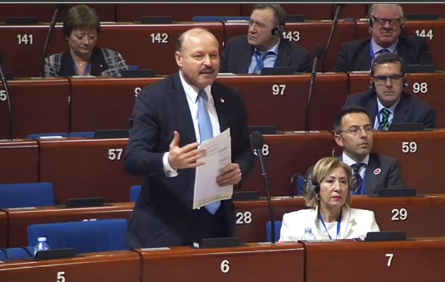 Valeriu Ghiletchi addressing the Council of Europe during the session on intolerance against Christians. / Video caption of CoE live stream.,valeriu ghiletchi