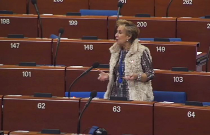 EPP's Quintanilla showed her group's support to the report. / VIdeo caption of CoE Live stream
