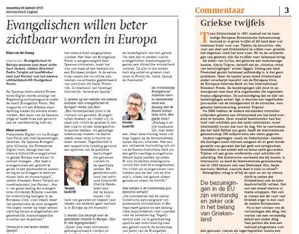 Article about Evangelical Focus in Netherland's Reformatorisch Dagblatt newspaper, 26th January.
