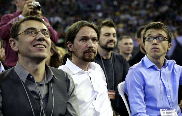 The leaders of Podemos: Juan Carlos Monedero, Pablo Iglesias and Íñigo Errejón. ,
