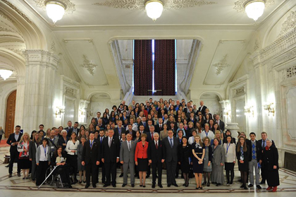 Politicians and civil society representatives gathering with EFN at the Romanian Parliament. / EFN