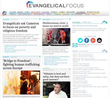 Evangelical Focus front page.