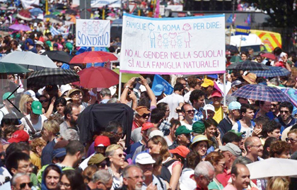 Thousands supported family in the rally in Rome.