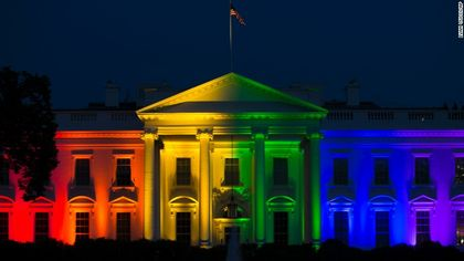The White House was lit up in rainbow colors after the decision / CNN