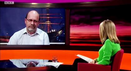 David Robertson talks to journalist Sarah Smith. / Video caption BBC