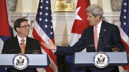 Cuban Foreign Minister Bruno Rodriguez and John Kerry