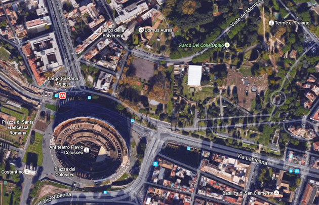 A view of the Parco del Colle Oppio, close to the Colosseum. / Google Earth,colle oppio, colosseum, view, google earth
