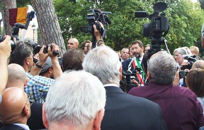 Mayor of Rome Ignazio Marino, speaking at the Piazza Martin Lutero ceremony. / S. Bogliolo