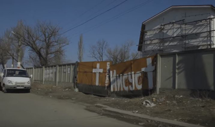A Baptist church building in Donetsk, occupied by DPR soldiers. / Vice News