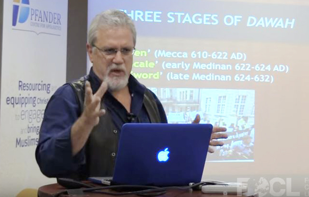 Jay Smith, in his talk about radical Islam. / Video caption FOCL,focl, Jay Smith, islam, conference