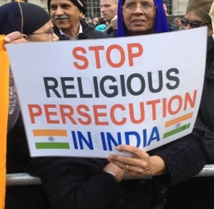 Demonstration in the UK, asking for religious freedom in India.