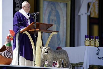 Pope Francis during the mass in San Cristobal de las Casas, Chiapas. / AP