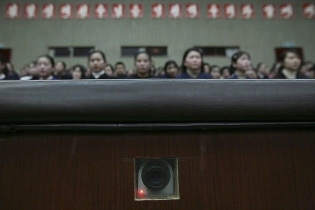 A camera is embedded in the wall and used to record inside an auditorium at the Mangyongdae Schoolchildren's Palace in Pyongyang, North Korea, 27 February 2008. / David Guttenfelder,David Guttenfelder, north korea, photos, kim,