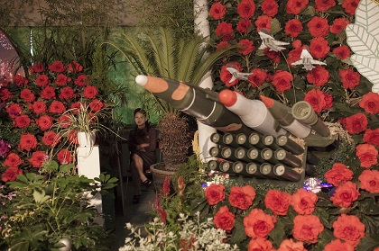 A woman sits next to models of military weapons at a festival for the Kimilsungia and Kimjongilia flowers, named after the country's late leaders, in Pyongyang, North Korea, 24 July 2013. / David Guttenfelder