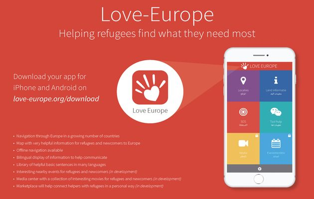 """""""Love-Europe"""", an app for refugees, which helps them to communicate better and feel welcome in their new surroundings / love-europe.org,"""