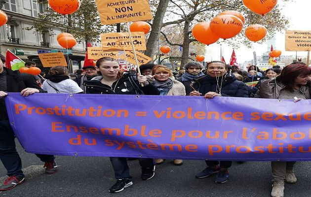 A demonstration against prostitution in France,