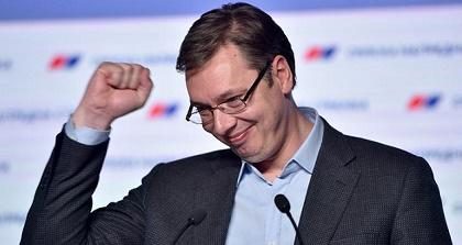 Serbian PM Alexandar Vucic celebrates victory. / AFP