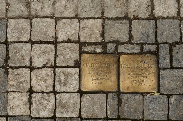 Two Stoplersteine in Prague. / N. Wolters,stolpersteine, nelleke, wolters, prague