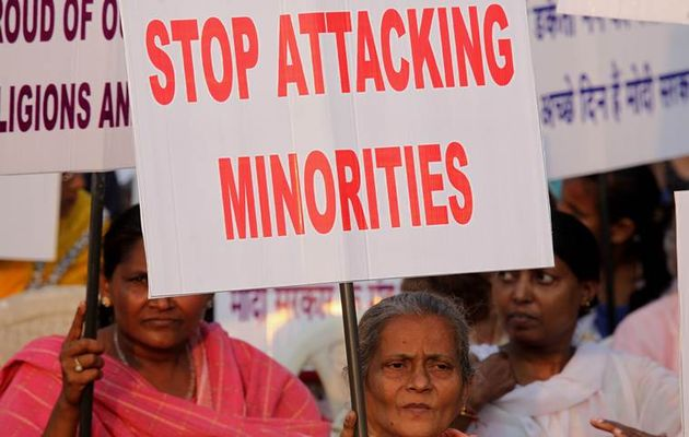 A demonstration in India against religious persecution. ,