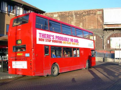 Atheist Bus Campaign in UK public transport in 2008.