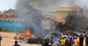 A building attacked during the riots in Pandogari. / PM News Nigeria