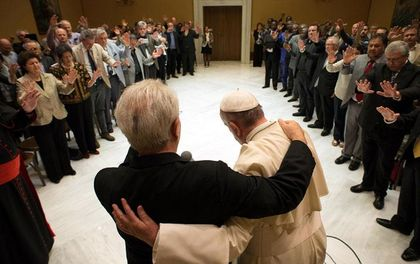 Pastor Giovanni Traettino and other Pentecostal pastors praying for Pope Francis at the Vatican in May 2015.