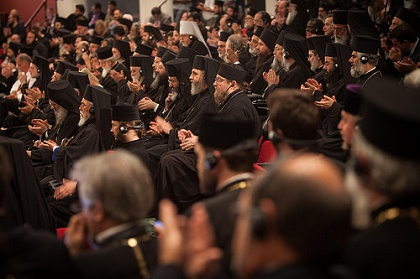 The Primates of the Local Orthodox Churches and their delegations participate in the opening session of the Holy and Great Council of the Orthodox Church at the Orthodox Academy of Crete. / SEAN HAWKEY.