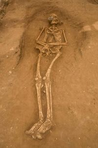 The Philistines buried their dead primarily in pits that were excavated for each individual.