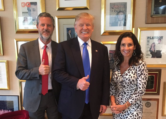 Donald Trump with evangelical leader Jerry Falwell Jr,