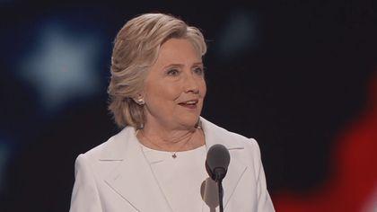 Hillary Clinton during her acceptance speech.