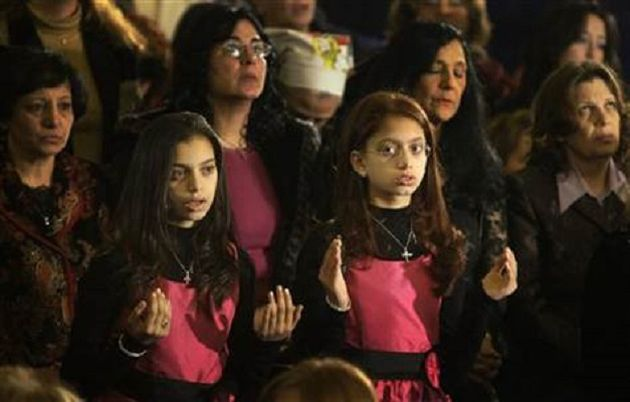 Coptic Christians in a worship service in Egypt,