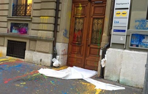 The offices of the Evangelical party EVP were attacked days before. / Livenet