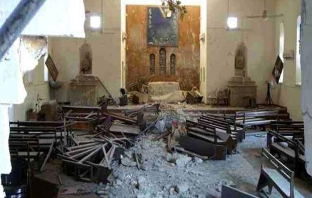 A church destroyed in Qaraqosh,
