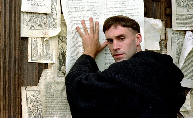 Luther and his 95 theses, as seen in the film featuring Joseph Fiennes. ,martin luther, 95 theses