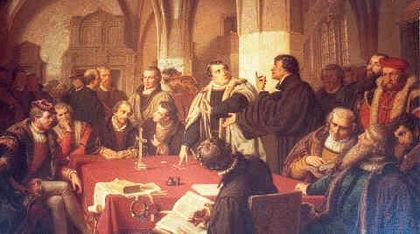 Luther and Zwingli at the Colloquy of Marbur.