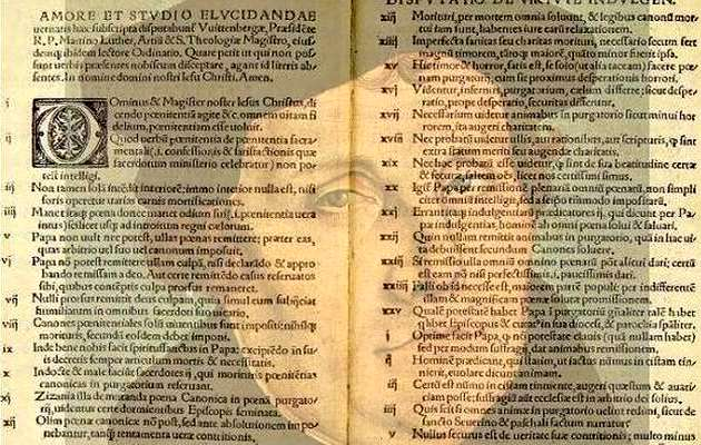 One of the original texts, with the image of Martin Luther.,