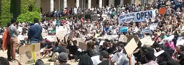 Students in South Africa demand affordable university fees. ,