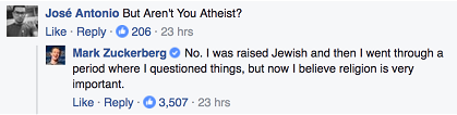The post on Mark Zuckerberg's Facebook profile.