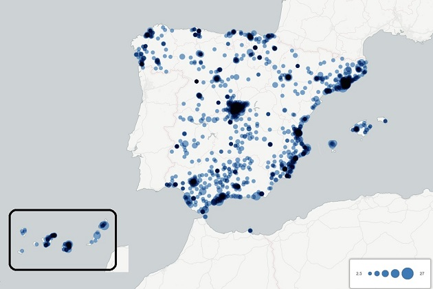 Cities in Spain in which there are at least two Evangelical worship places. / Observatorio Pluralismo Religios de España,spain, evangelicals
