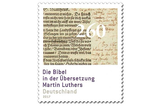 The commemorative Luther Bible post stamp issued in Germany. / Deutsche Post,luther, stamp, germany