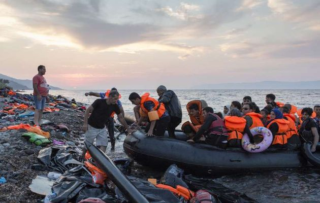 Refugees being rescued.,