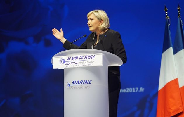 Marine Le Pen during her speech.,