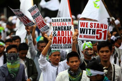 Demonstration aganist the governor in akarta.