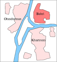 Bahri (North) Khartoum in relation to Nile and capital area. / Wikipedia