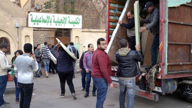 Refugees have now taken refuge in the Evangelical Church of  Ismailiya. / France24,