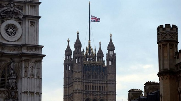 The flag above the Houses of Parliament flies at half mast. / J. Brady, PA ,westminster, flag