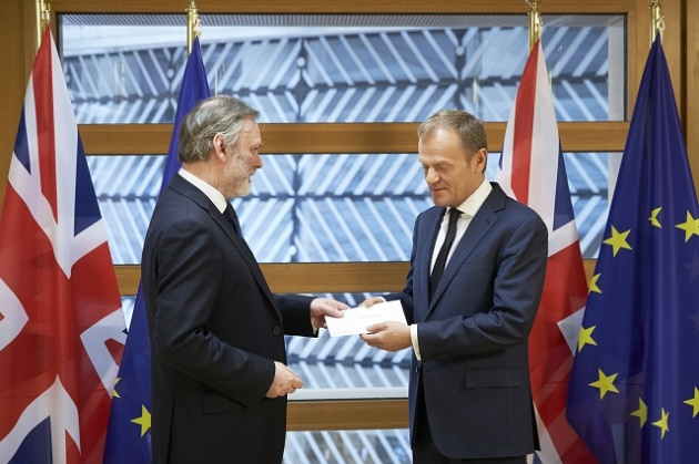 Tim Barrow, Permanent Representative of the United Kingdom to the EU; hands over Article 50 letter to Donald Tusk, President of the European Council. / European Union,
